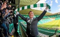 23/05/16 CELTIC PARK - GLASGOW Brendan Rodgers arrives at Celtic Park to be unveiled as Celtic's new manager.